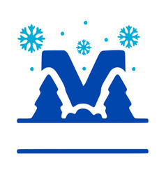 Letter m and winter composition monogram logo vector