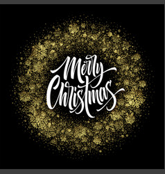 Merry christmas lettering in glitter frame vector