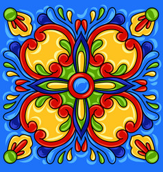 Mexican talavera ceramic tile pattern vector