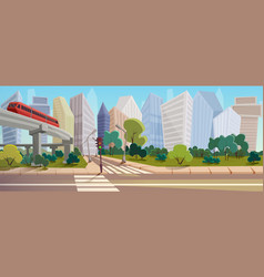 Modern city crossroad cartoon landscape vector