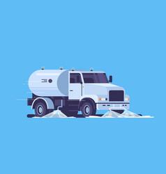 modern street sweeper truck washing asphalt vector image