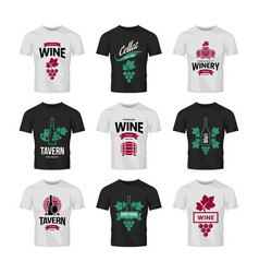 Modern wine logo collection for tavern vector