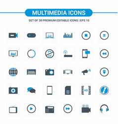 Multimedia blue icons vector