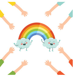 of cartoon rainbow vector image