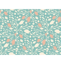 Organic floral pattern in muted green color vector