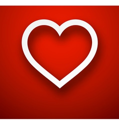 Paper heart over red vector image