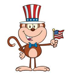 patriotic monkey cartoon character vector image