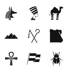 pharaon of egypt icons set simple style vector image