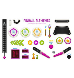 Pinball horizontal icon set vector