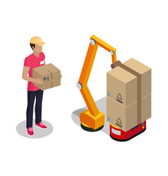 Plant worker holding cardboard box color poster vector