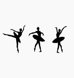 poses of ballet hand drawn icons set black vector image