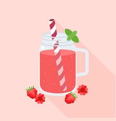 Raspberry juice in mason jar glass and raspberries vector
