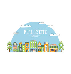 Real estate agency banner template with cute hand vector
