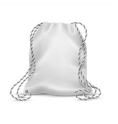 realistic drawstring bag white cloth bag with vector image