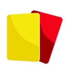 Red and yellow referee cards icon cartoon style vector image