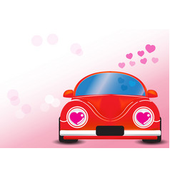 red car with heart vector image