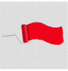 red paint roller and paint stroke transparent vector image
