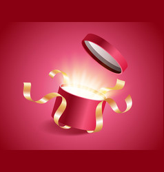 red round opened 3d realistic gift box with vector image