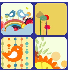 Retro flowery design greeting cards vector