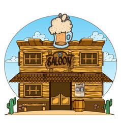 Saloon wild west color vector