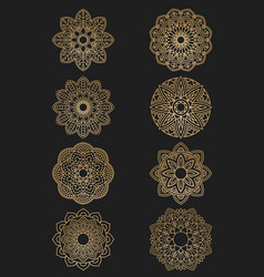 Set of ethnic round ornaments mandala vector