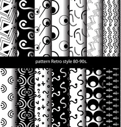 set pattern retro style 80-90s vector image