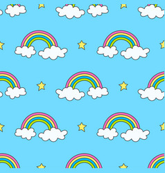 sky pattern with rainbows stars and clouds vector image