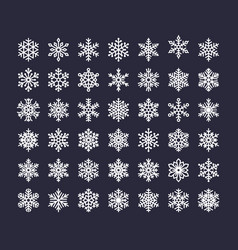snowflake flat icons set collection cute vector image