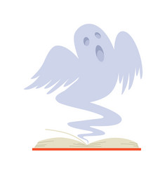 Story open book with ghost stories on white vector