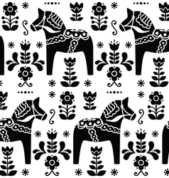 Swedish folk art Dala or Daleclarian horse pattern vector