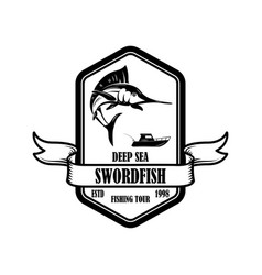 swordfish fishing trip emblem template with vector image