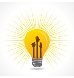 Unityvictory and helping hand are inside the bulb vector