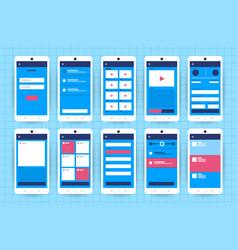 Ux ui flowchart mock-ups mobile application vector