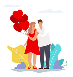 Valentines day couple love heart balloons modern vector