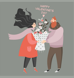 valentines day with cute couple vector image