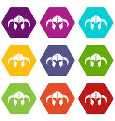 viking helmet classic icons set 9 vector image