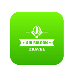 vintage air balloon icon green vector image