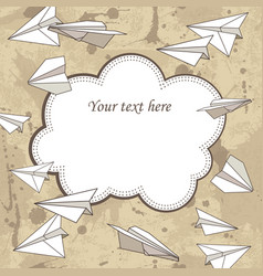 Vintage frame with paper planes and text place vector