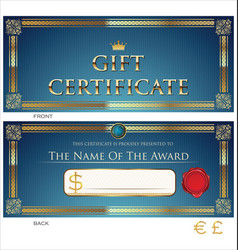 voucher gift certificate coupon blue and gold vector image
