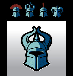 warrior helmet logo set vector image