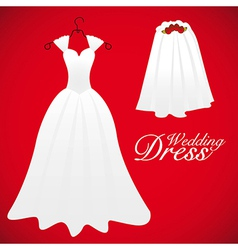 Wedding card wedding gowns vector