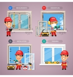 Window installation step step with handyman vector