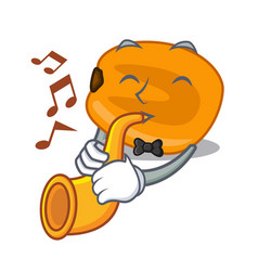 With trumpet eat corn nuts in cartoon shape vector
