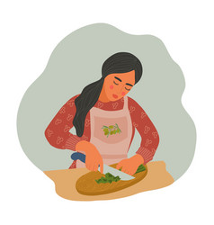 Woman is cooking natural healthy food girl in an vector