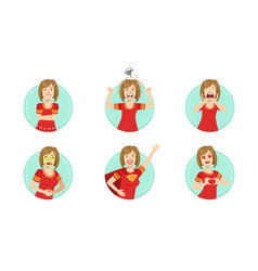 Young woman showing various emotions set female vector