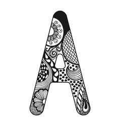 Zentangle stylized alphabet Lace letter A in vector image