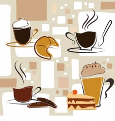 coffee tea cake vector image vector image