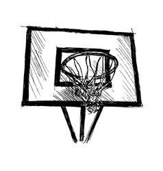 Hand sketch basketball hoop vector