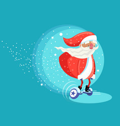 modern santa clause riding electric board vector image vector image