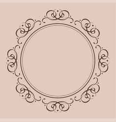 round vintage frame decorative ornament vector image